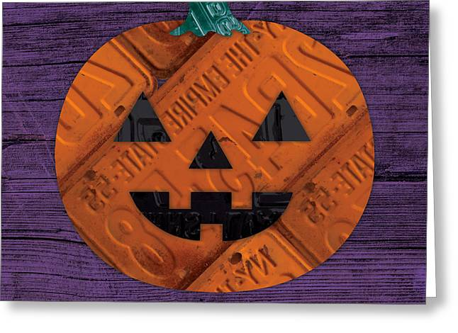 Halloween Pumpkin Holiday Boo License Plate Art Greeting Card by Design Turnpike