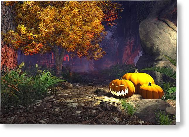 Halloween Pumpkins Greeting Card by Marina Likholat