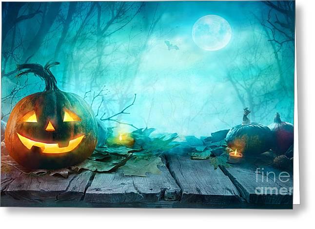 Halloween Pumpkins On Wood. Halloween Greeting Card