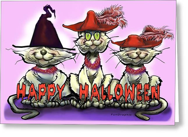 Halloween Red Hats Greeting Card