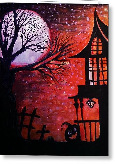 Halloween Retreat Greeting Card by Denisse Del Mar Guevara