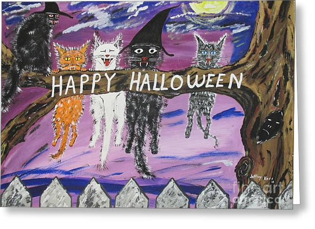 Halloween Scaredy Cats Greeting Card by Jeffrey Koss