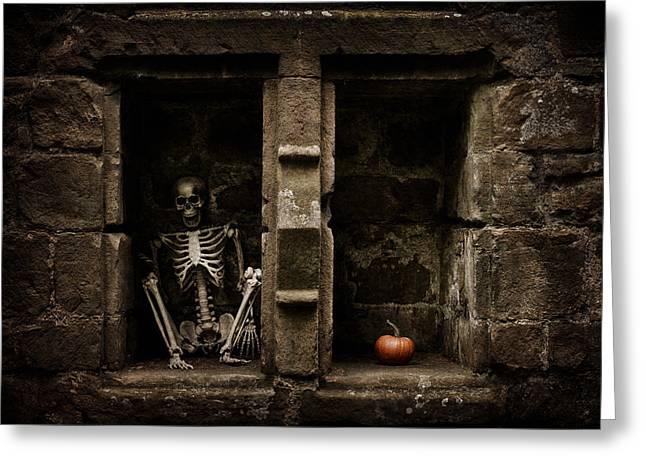 Halloween Skeleton Greeting Card by Amanda Elwell