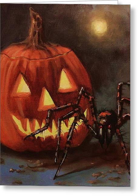 Halloween Spider Greeting Card by Tom Shropshire