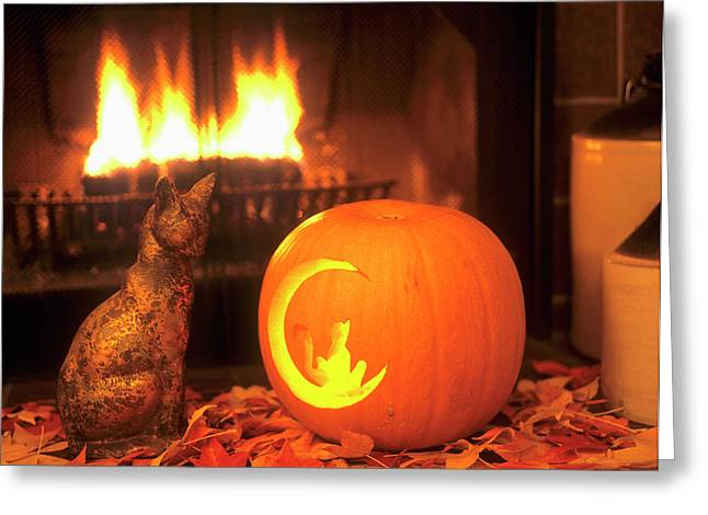 Halloween Themed Image Of Ceramic Cat Greeting Card by John Alves