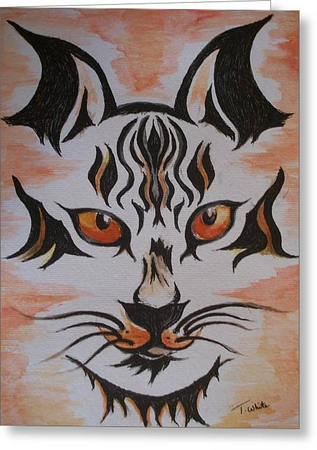 Greeting Card featuring the painting Halloween Wild Cat by Teresa White