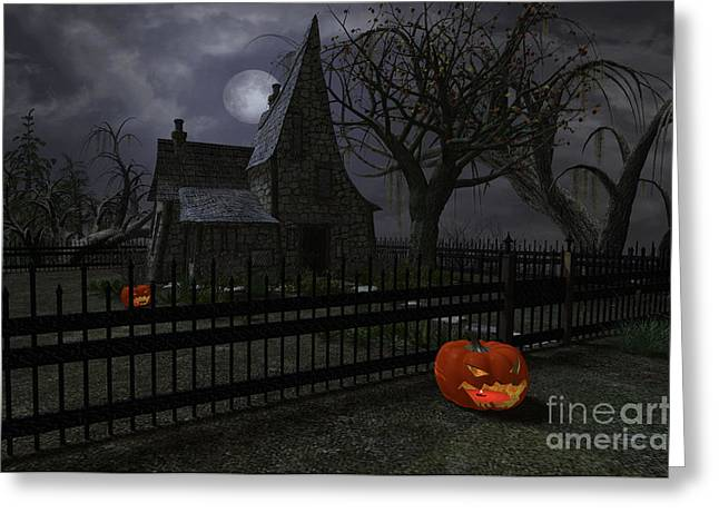 Halloween Witch House - 1 Greeting Card by Fairy Fantasies