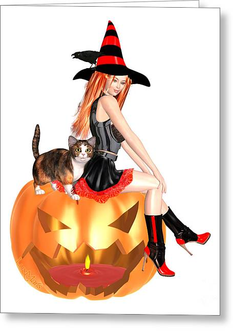 Halloween Witch Nicki With Kitten Greeting Card