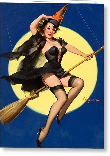 Halloween Witch Pinup Girl Greeting Card