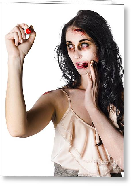 Halloween Zombie Woman Writing Message Greeting Card