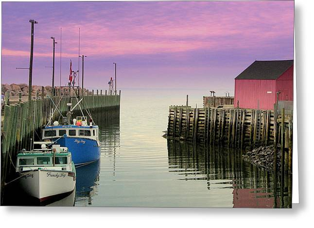 Halls Harbour Evening Greeting Card