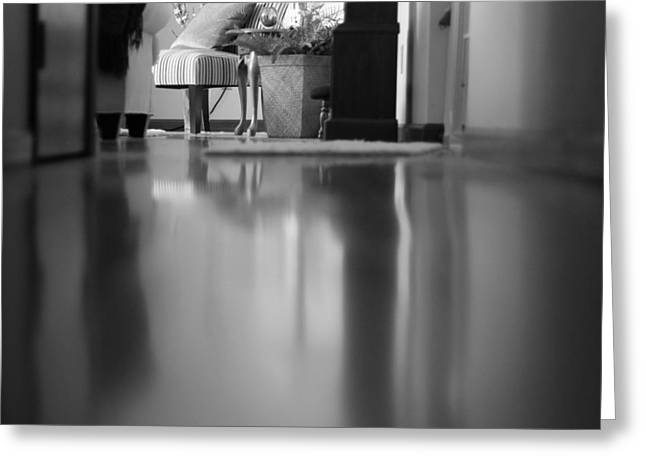 Hallway Reflections Black And White Greeting Card by Dan Sproul