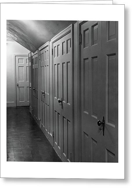 Hallway With Closet Doors Greeting Card