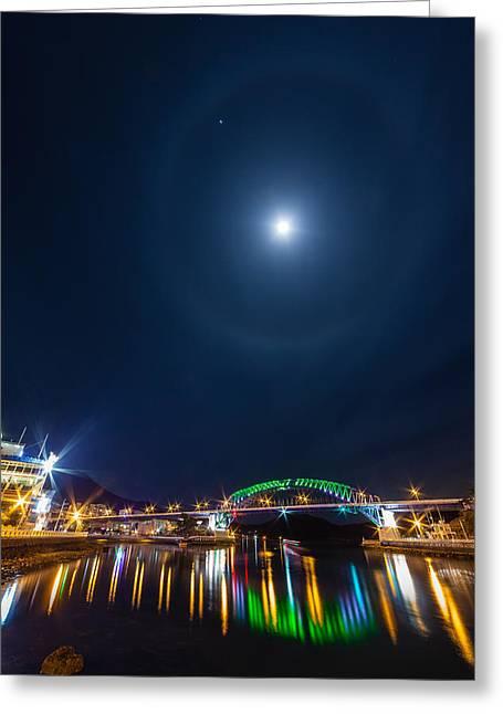 Halo Above The Bridge Greeting Card