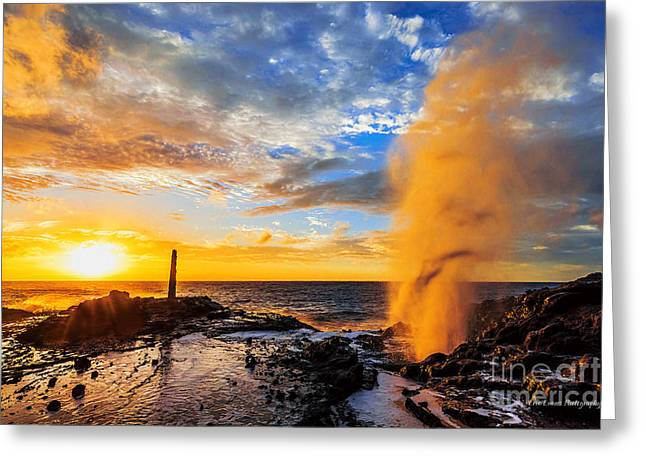 Greeting Card featuring the photograph Halona Blowhole At Sunrise by Aloha Art