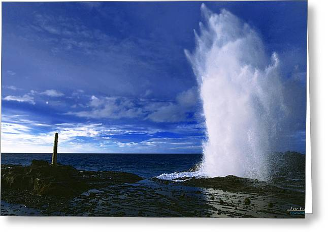 Greeting Card featuring the photograph Halona Blowhole Ice Blue Geyser by Aloha Art