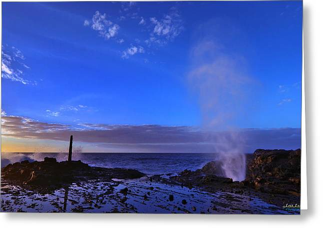 Greeting Card featuring the photograph Halona Blowhole Purple Sunrise by Aloha Art