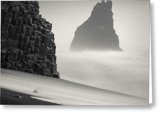 Halsenifs Hellir Sea Stack Greeting Card by Dave Bowman