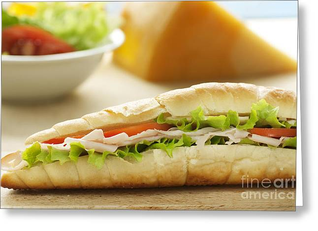 Ham And Cheese Sandwich Greeting Card by Mythja  Photography