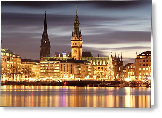 Hamburg Christmas Greeting Card by Marc Huebner