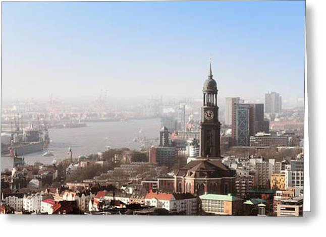 Hamburg Elbe Panorama Greeting Card by Marc Huebner