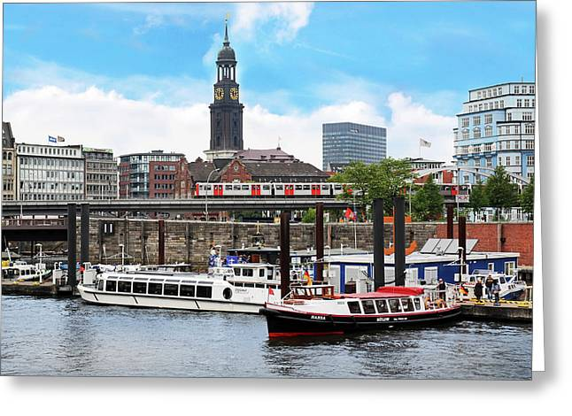 Hamburg, Germany, Tour Boats Docked Greeting Card by Miva Stock