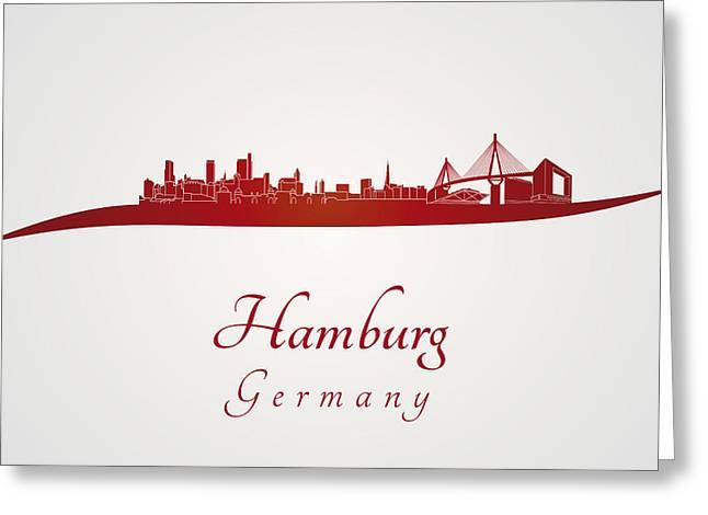 Hamburg Skyline In Red Greeting Card