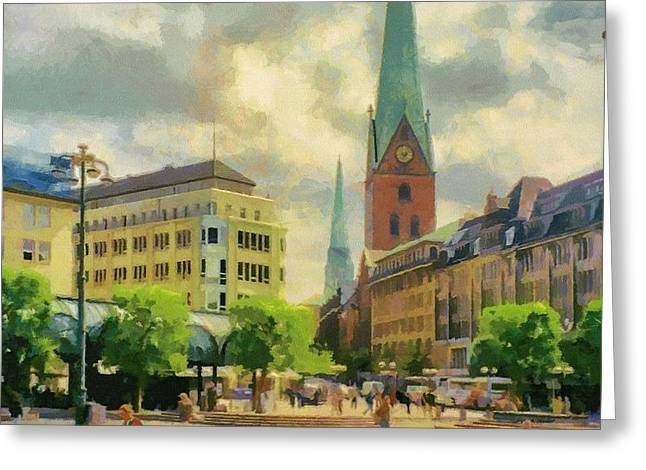 Hamburg Street Scene Greeting Card by Jeffrey Kolker