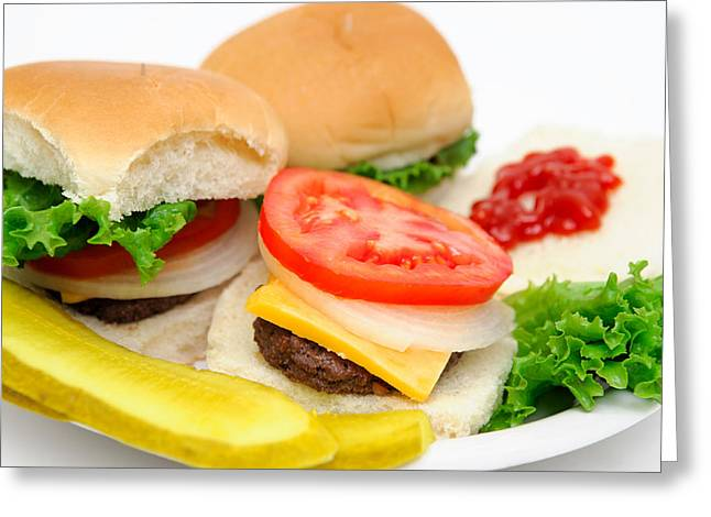 Hamburger And Pickles Greeting Card by Don Bendickson