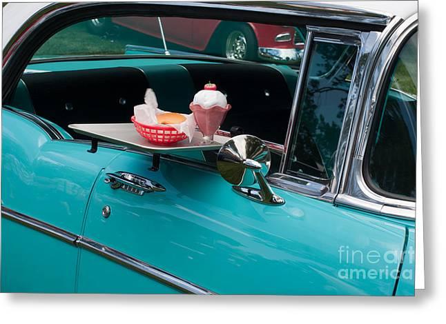 Greeting Card featuring the photograph Hamburger Drive In Classic Car by Gunter Nezhoda