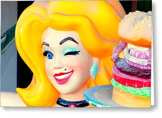 Hamburger Mary Greeting Card by Antonia Citrino