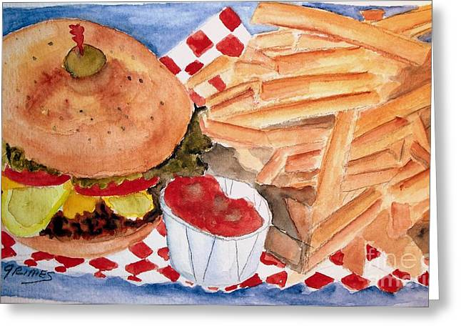 Hamburger Plate With Fries Greeting Card by Carol Grimes