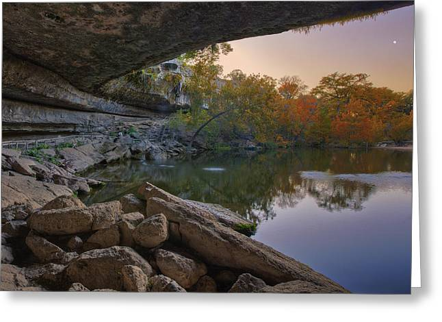 Hamilton Pool Autumn Moonset In The Texas Hill Country Greeting Card by Rob Greebon