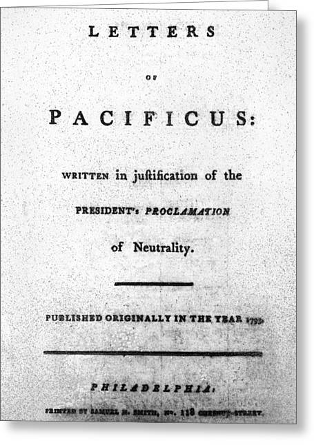 Hamilton Title Page, 1793 Greeting Card