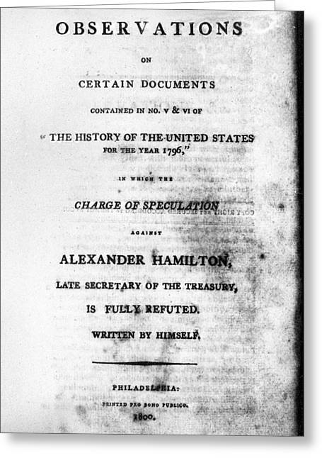 Hamilton Title Page, 1800 Greeting Card