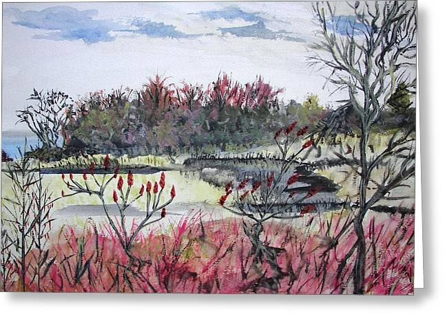 Greeting Card featuring the painting Hamlin Ontario Plein Aire by Judy Via-Wolff