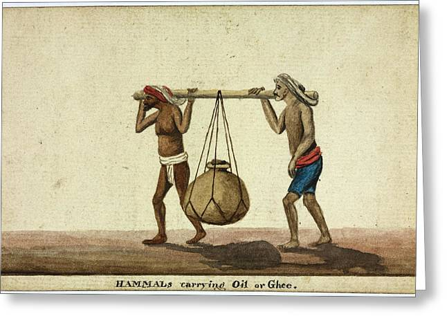 Hammals Carrying Oil Or Ghee Greeting Card by British Library
