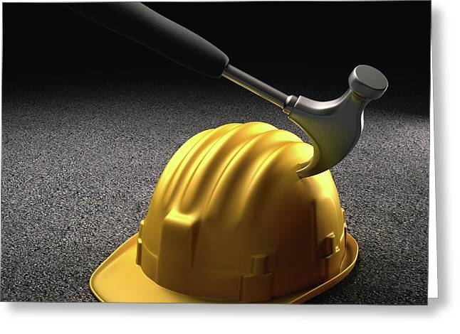 Hammer Hitting A Hard Hat Greeting Card by Ktsdesign