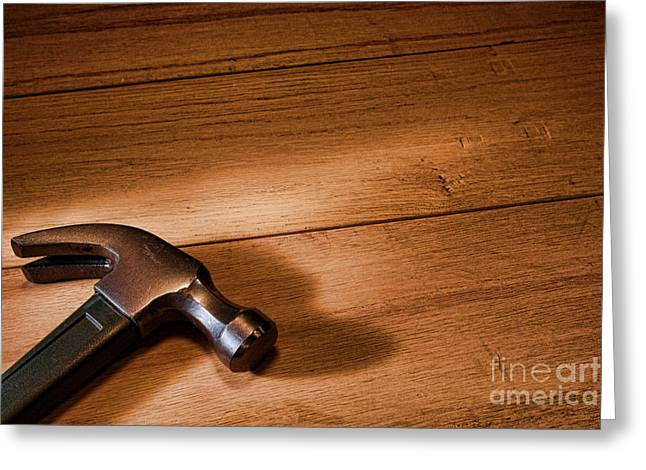 Hammer On Wood Greeting Card by Olivier Le Queinec