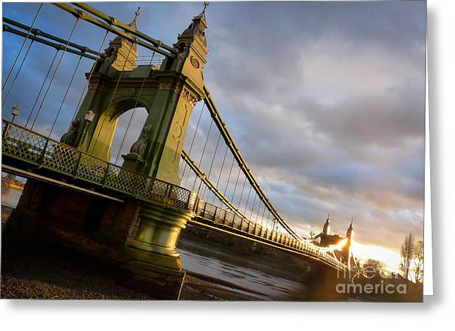 Greeting Card featuring the photograph Hammersmith Bridge In London by Peta Thames