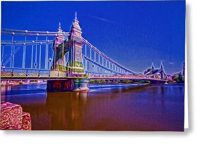 Hammersmith Thames Bridges  Greeting Card by David French