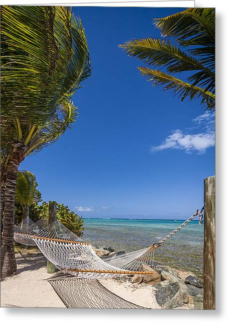 Hammock On The Beach British Virgin Islands Greeting Card by Adam Romanowicz
