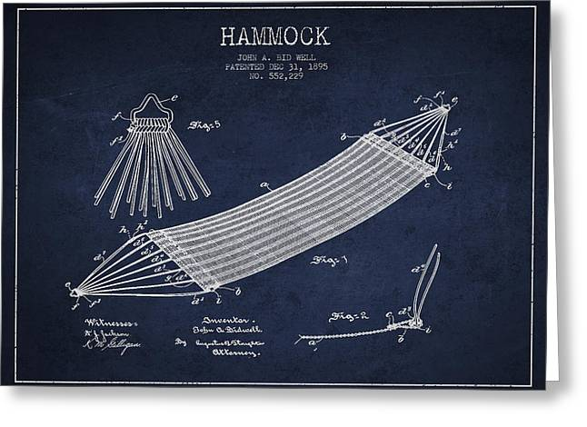 Hammock Patent Drawing From 1895 Greeting Card by Aged Pixel