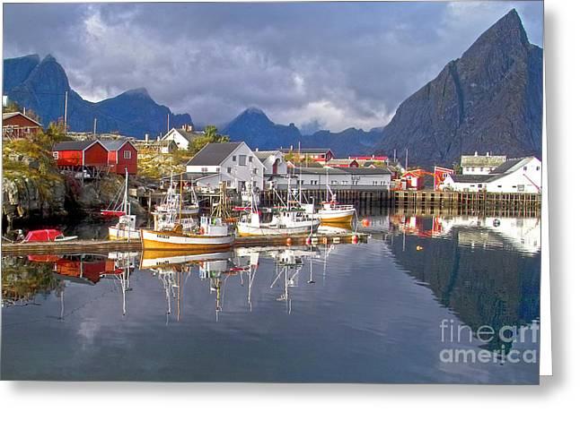 Hamnoy Fishing Village On Lofoten Islands Greeting Card by Heiko Koehrer-Wagner