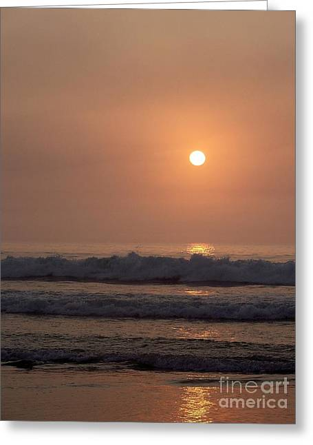 Hampton Beach In Morning Fog Greeting Card by Eunice Miller