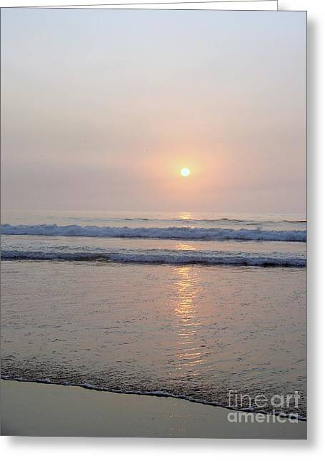 Hampton Beach Waves And Sunrise Greeting Card by Eunice Miller