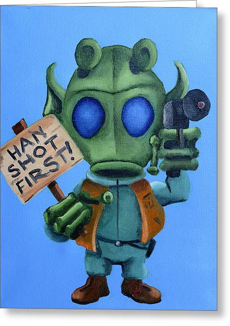 Han Shot First  Greeting Card by Chris  Leon