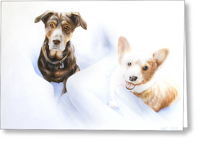 Hana And Olive Greeting Card by Kevin Hill