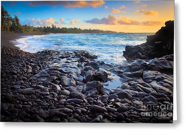 Hana Bay Sunrise Greeting Card by Inge Johnsson