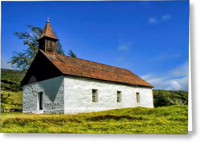 Greeting Card featuring the photograph Hana Church 1 by Dawn Eshelman